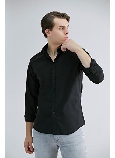 TWN Slim Fit Düz Gömlek Siyah